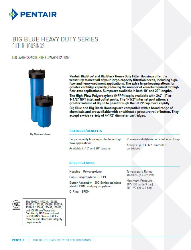 Big Blue Filter Housings Pentair Canada