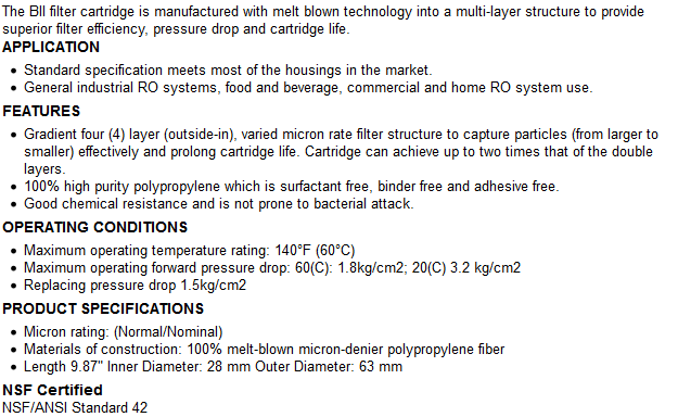 BII Spun Poly Filter Specifications
