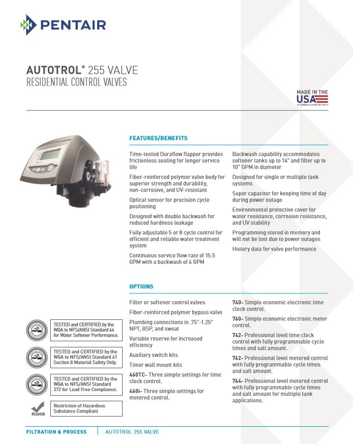 Autotrol 255 Series Valves