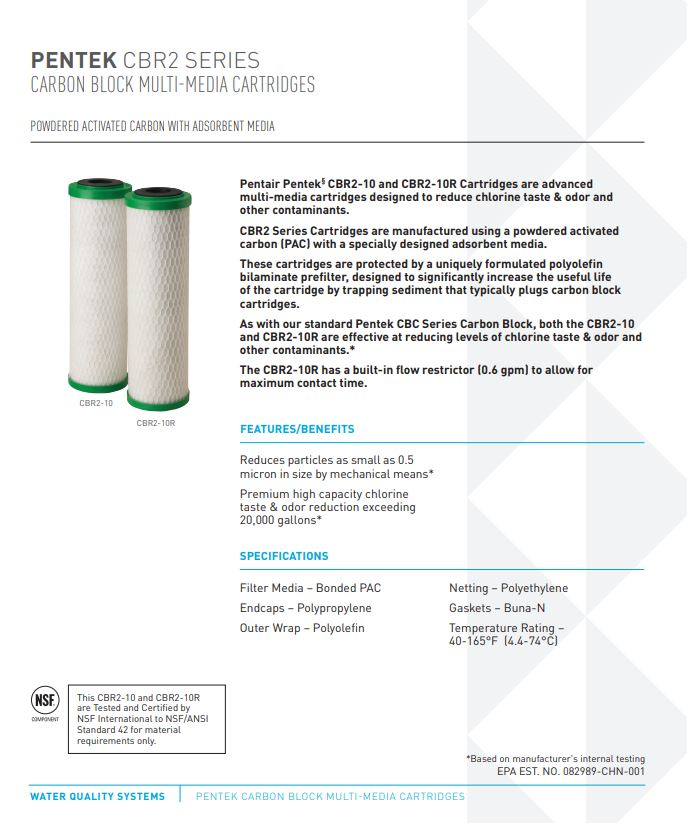 Pentek CBR Series Filters Canada Specifications