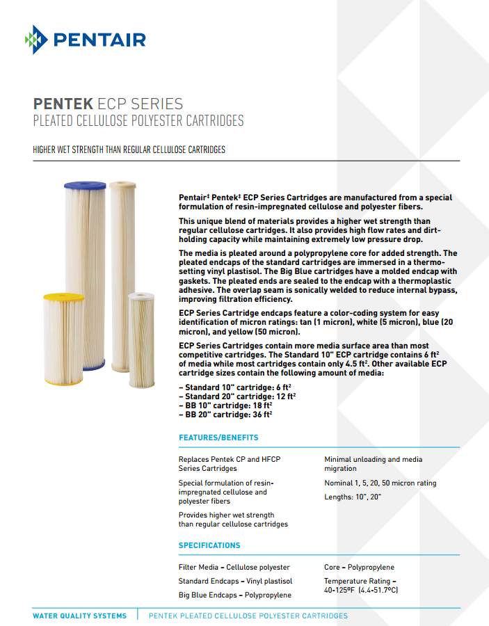 Pentek ECP Product Specifications