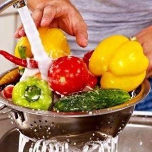 Washing Vegetables with Clean Water