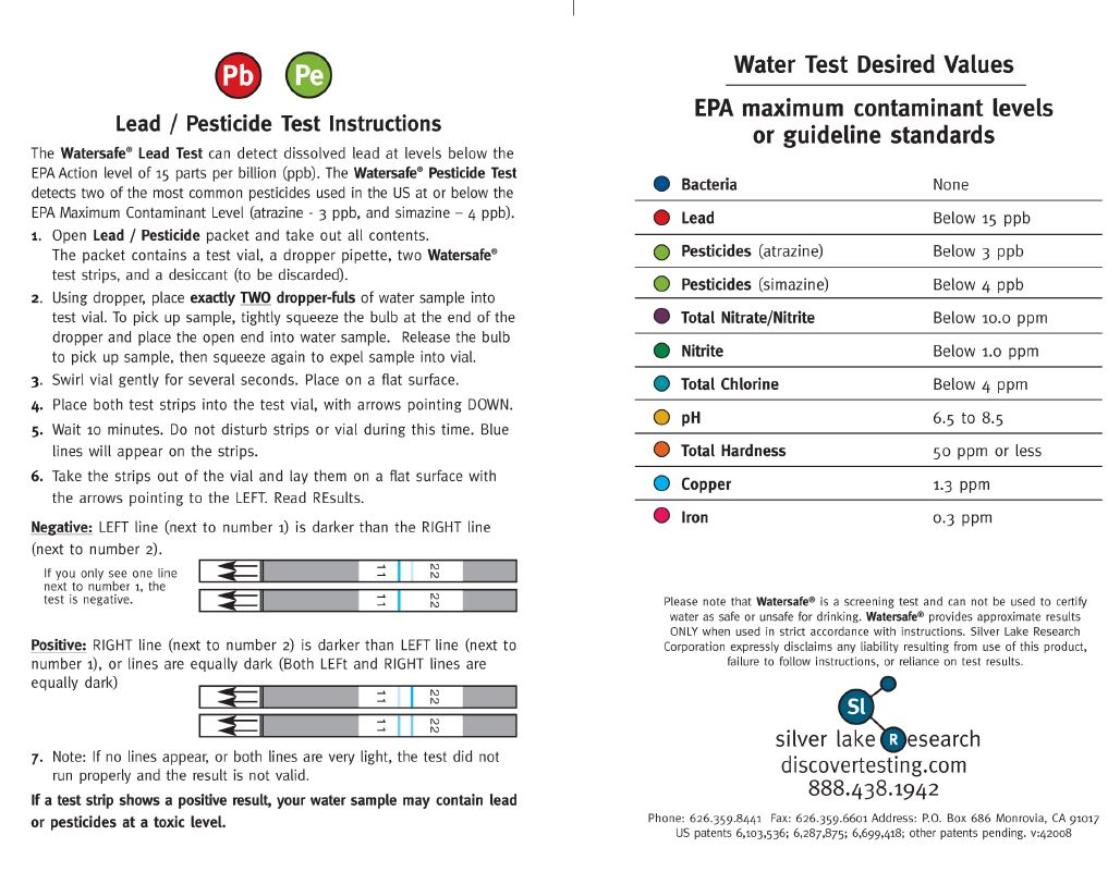 Well Water Test Kit Instructions Page 1